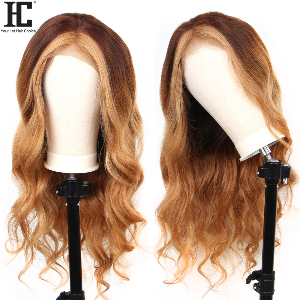 4/27 13x6 Lace Front Human Hair Wig Deep Part Glueless Brazilian Remy Lace Wigs Bleached Knots 150% Ombre Honey Blonde Wig HC