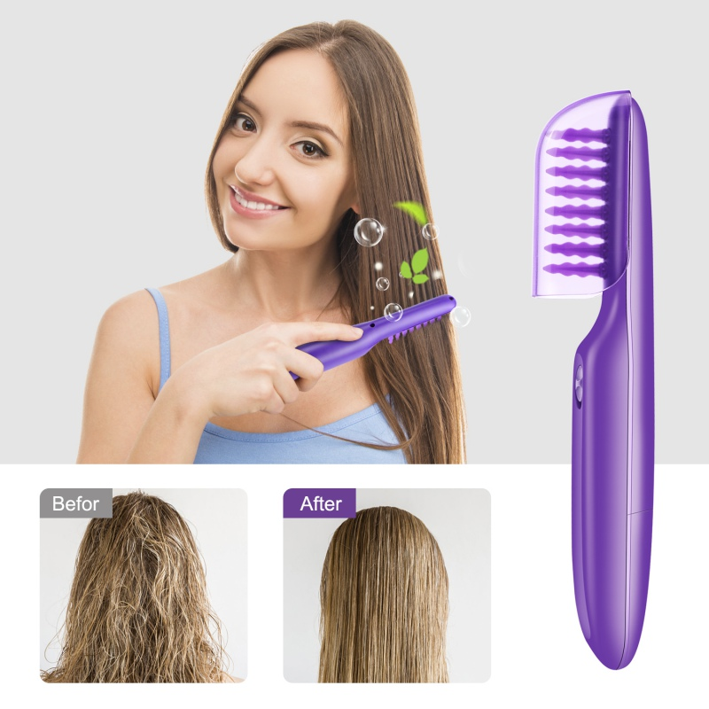 New Electric Comb Women Hair Wet Or Dry Tame The Mane Electric Detangling Brush With Brush Cover, Adults & Kids Hot/