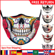 Kid Mask Face-Cover Joker Cosplay Washable Adult Skull Print Classic Halloween Carnival