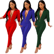 Womens V Neck Zip Up Sport Jumpsuit Ladies Hooded Long Sleeve Plain Color Sexy Bodycon Playsuit F67 black zip front v neck long sleeves bodycon jumpsuit