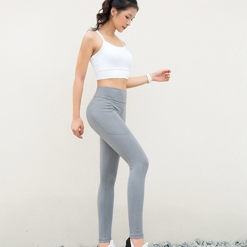 Purple High Elastic Polyester Black Pant Trousers Full Length Tight Fall 2019 Ropa De Invierno Para Mujer Thin Gray Women Pants in Pants amp Capris from Women 39 s Clothing