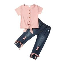 1-5Years Toddler Baby Kid Girl Clothes Set Knitted Short Sleeve Tops Bow Tassel Jeans Denim Pants Trousers Children Costumes