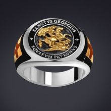 Saint St George Roman Soldier Knight Cross Rings for Men Vintage 3D Letter Engraving Motorcycle Biker Ring Hip Hop Rock Jewelry