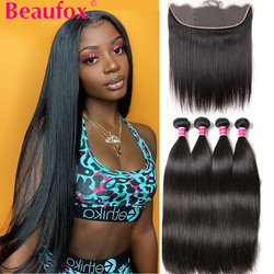 Beaufox Straight Hair Bundles With Frontal Brazilian Hair Weave Bundles With Frontal Closure Remy Human Hair Bundle With Closure
