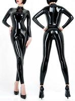 Latex Rubber Gummi Catsuit Women 3D Cut latex unitard back zip