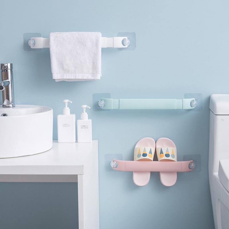 Adjustable Bathroom Wall Mounted Bathroom Towel Bar Shelf Self-adhesive Rack Holder Toilet Roll Paper Hanging Hanger Organizer