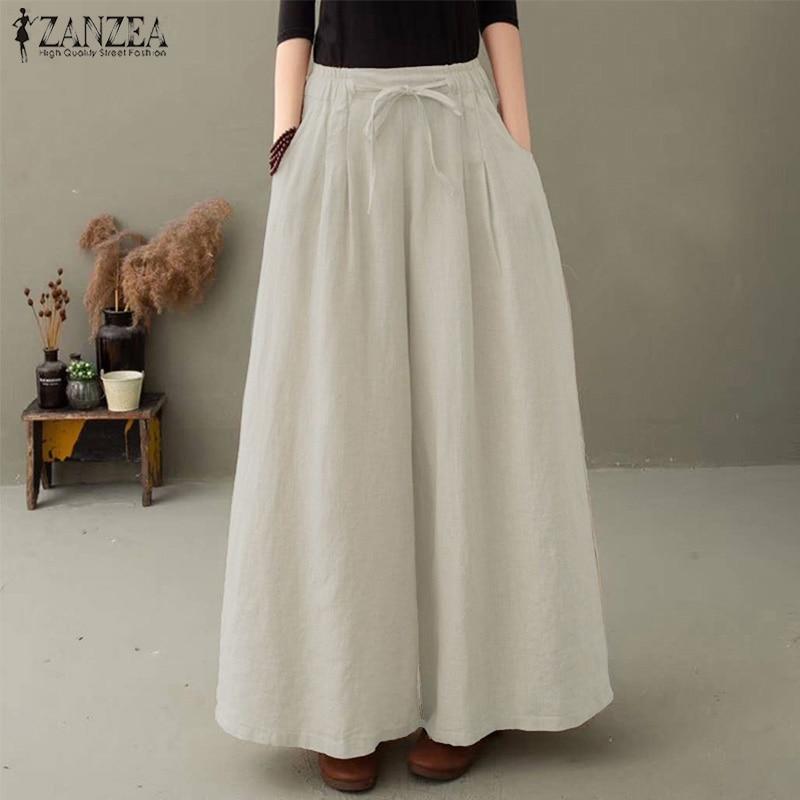 Grande taille femme Pantalon jambe large ZANZEA élégant jupe-culotte décontracté Pantalon Long Palazzo femme taille élastique navet 5XL