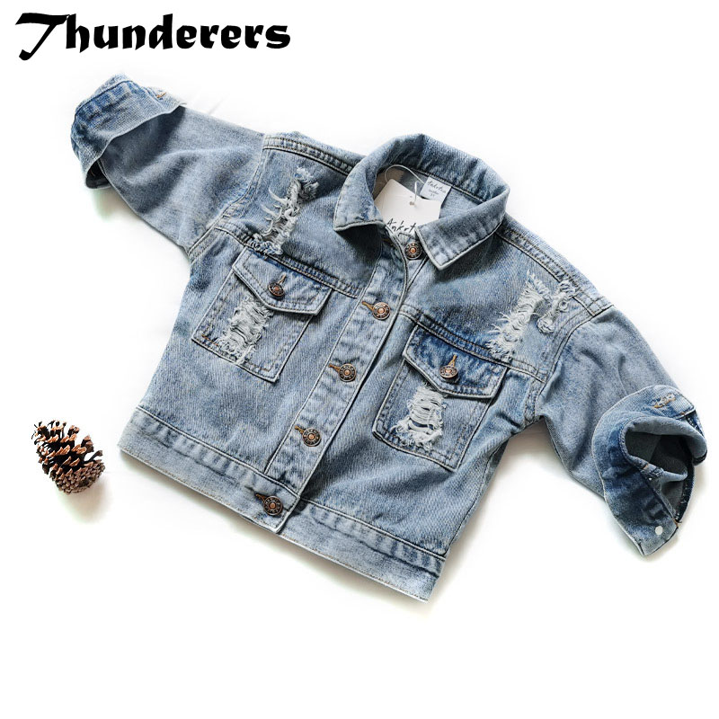 Thunderers Spring Autumn Kids Jacket For Girls Ripped Holes Children Jeans Coats Boys Girls Demin Outerwear Costume 24M-7Y 1