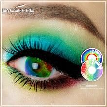 1 par arco-íris série cosplay lentes de contato para halloween scare lentes lentes contatos cor lente