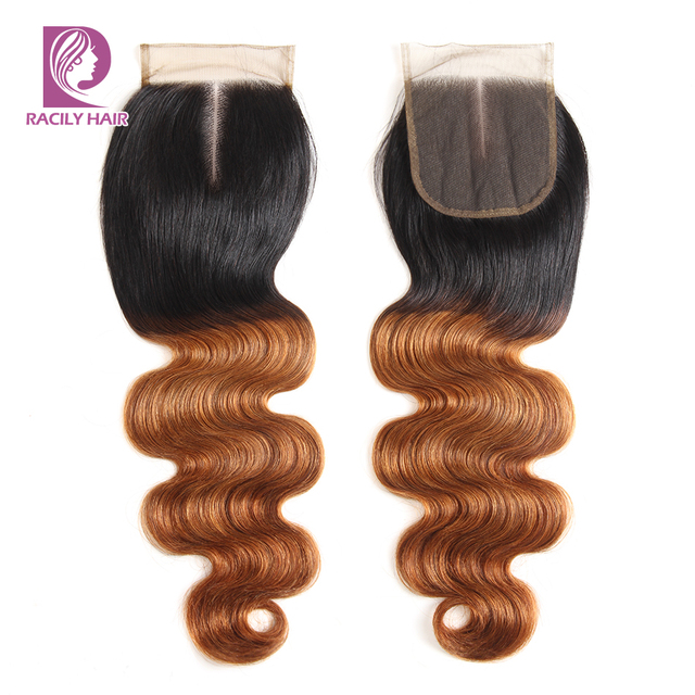 Racily włosy T1B/30 brązowy Ombre zamknięcie brazylijski ciało fala zamknięcie koronki z dzieckiem włosy 4x4 zamknięcie koronki Remy uzupełnienie splotu ludzkich włosów