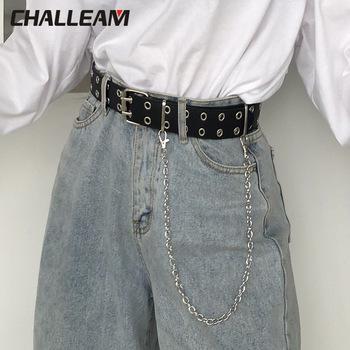 Pasek damski PU skórzany ze sprzączką punk style jeans new fashion damski czarny regulowany pasek do spodni na guziki 152 tanie i dobre opinie moda Adult CN (pochodzenie) Unisex 3 8cm Stałe Pasy 100cm