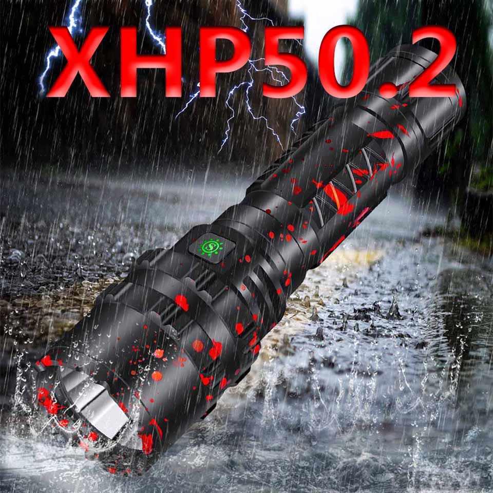 Cree xhp50.2 светодиодный фонарик usb зарядка растягивающийся ударопрочный мощный перезаряжаемый фонарь 18650 или 26650 Z901103