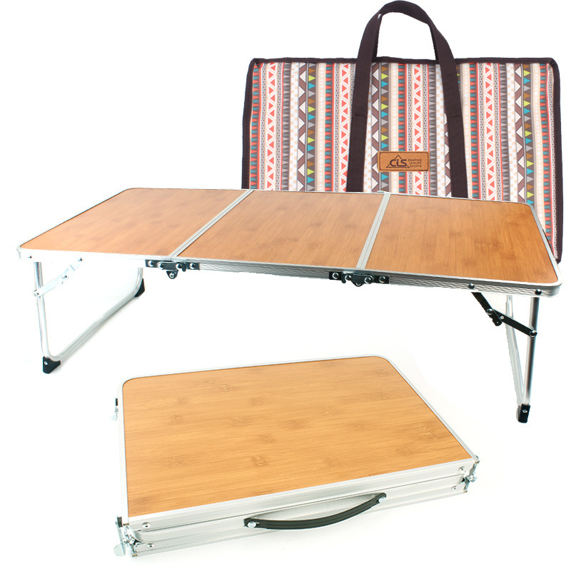 Outdoor Folding Table Picnic Barbecue Bamboo Wood Board  Camping Hand  Lift  Simple Furniture Bed Computer