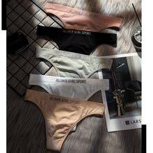 Bragas de Color cálido para mujer, Tanga de algodón con letras, bragas de cintura baja, ropa interior de Fitness para niña