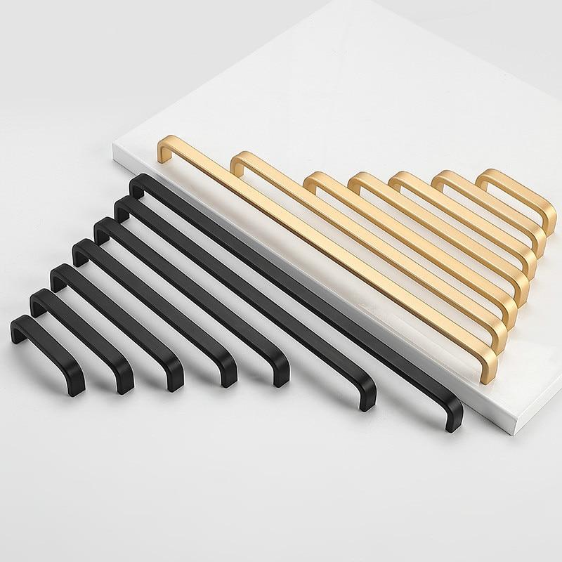 Современный минималистичный черный шкаф с ручкой, выдвижные ящики для шкафа, бытовые дверные ручки из алюминиевого сплава розового золота