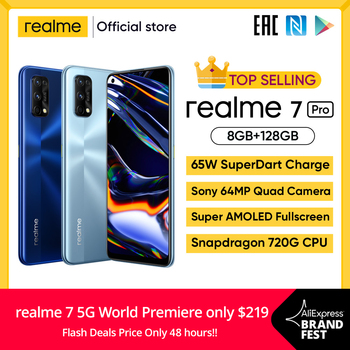 Realme 7 Pro Global Version Smartphone 65W Fast Charge Fingerprint Unlock Fullscreen MobilePhone Snapgragon 720G Game Cellphone