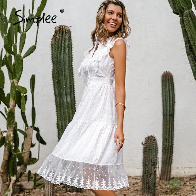 Simple Elegant ruffle lace white dress 4
