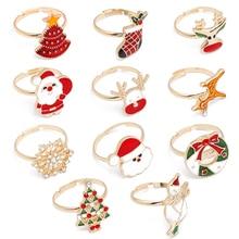 цена на new fashion deer christmas tree santa claus snowflake rings for women men christmas style gifts accessories