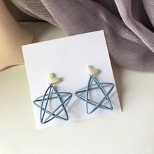 Grandes boucles d'oreilles en forme de cœur pour femmes, bijoux tendance, étoile bleue, goutte d'eau, nouveau Design en métal, S925, 2020