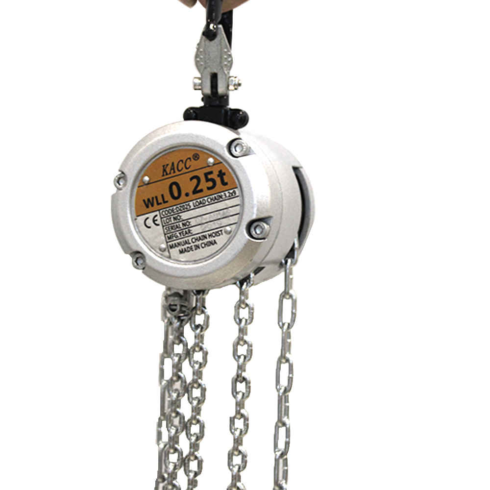 KACC Mini Hand Chain Hoist Hook Mount 0.25/0.5 Ton Capacity 3M Lift CE Certificate Portable Manual Lever Block Lifting