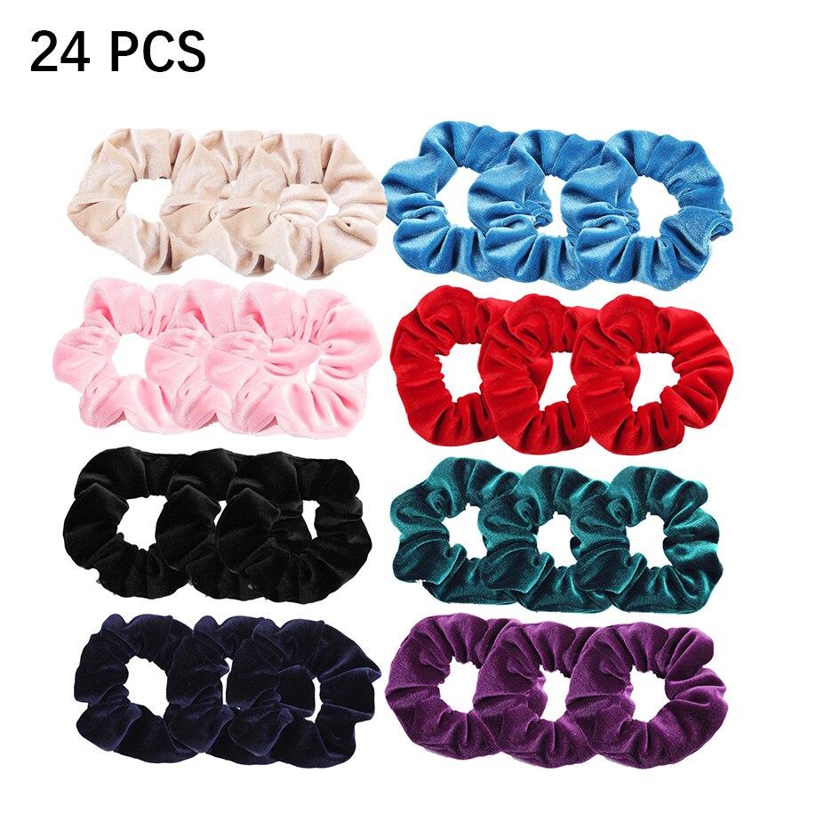 24 Pcs/ Set Women Velvet Scrunchie Pack Hair Bands For Girls Headwear Woman Scrunchies Hair Ties Accessories 2019 VERVAE