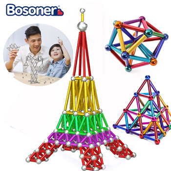 Fashion Magnet Toy Bars Magnetic Building Blocks Construction Toys For Children Designer Educational Toys For Kids Metal Balls magnetic toy set ndfeb magnet rods iron balls multiple color cylinder spheres construction stress release kit drop shipping
