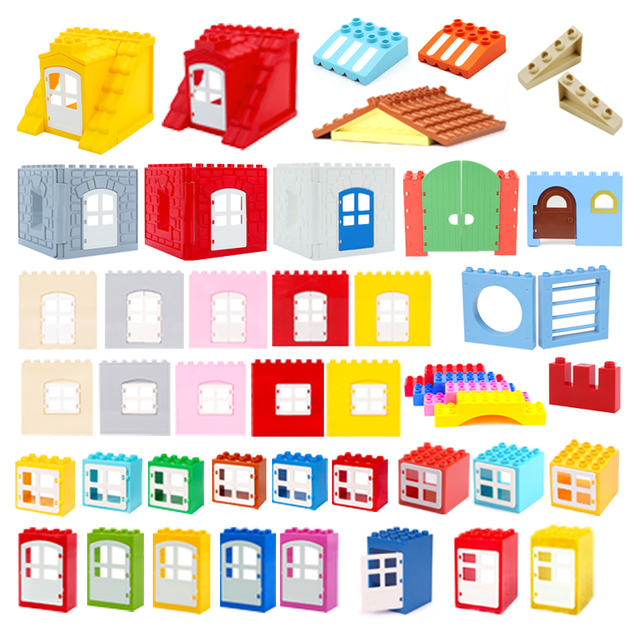 Big Particles Duplos Building Blocks House Accessory Window Wall Roof Construction Assemble Diy Brick Educational Toys For Kids