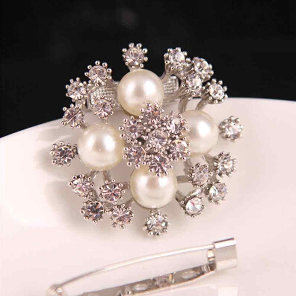 2019 Wanita Syal Sutra Klip Pemegang Topi Aksesoris Crystal Bunga Besar Mutiara Berlian Imitasi Paduan Pakaian Pin Bros Fashion Perhiasan