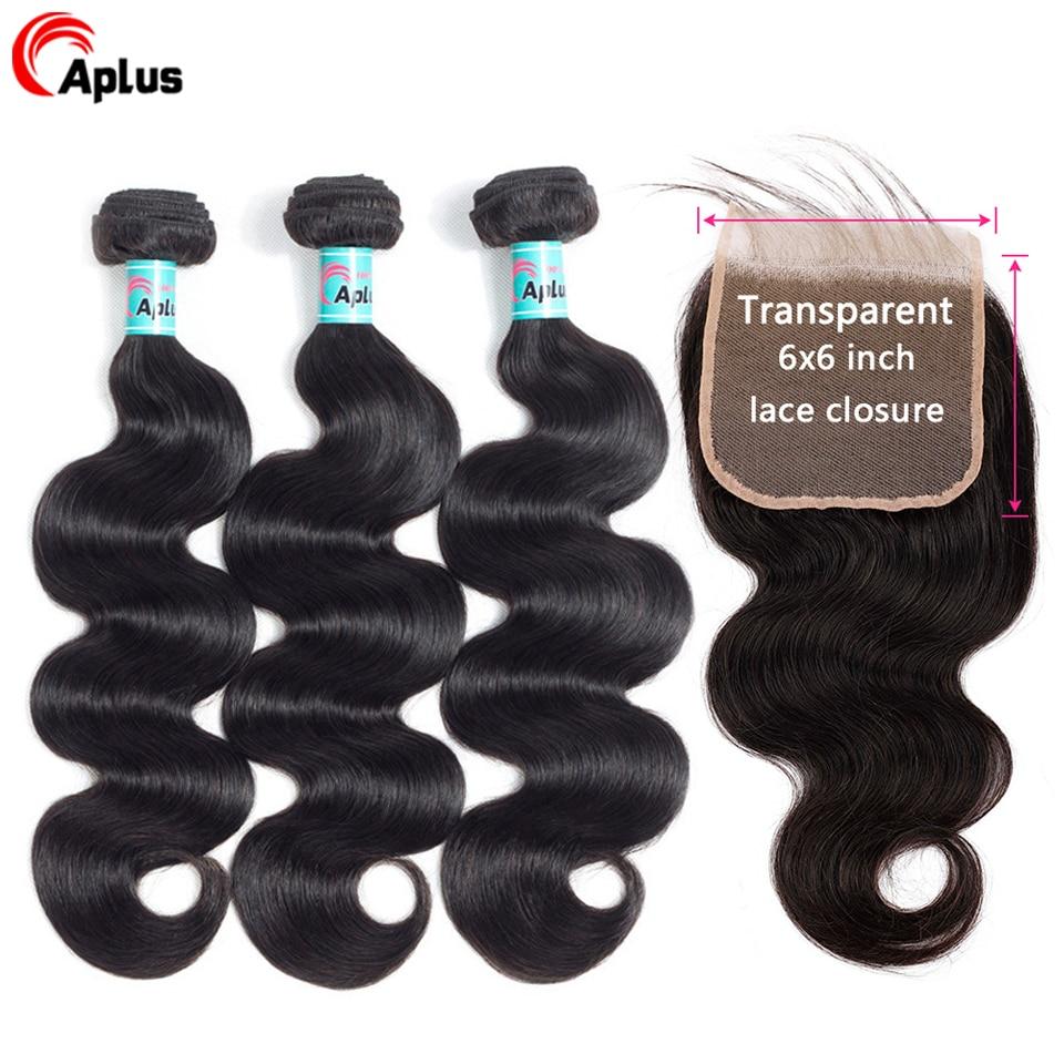 Transparent Lace 3 Bundles Brazilian BodyWave With Closure Hair Weave Bundle With Closure Remy Human Hair Bundles With Closure