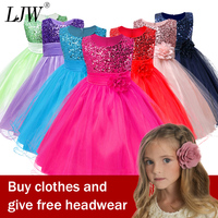3 14yrs Hot Selling Baby Girls Flower sequins Dress High quality Party Princess Dress Children kids clothes 9colors