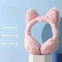 Cute Cat ears Headsets Windproof warm Pet Earphone for Girls Kids daughter Headphones For Laptop Cellphones PC Tablet Headsets