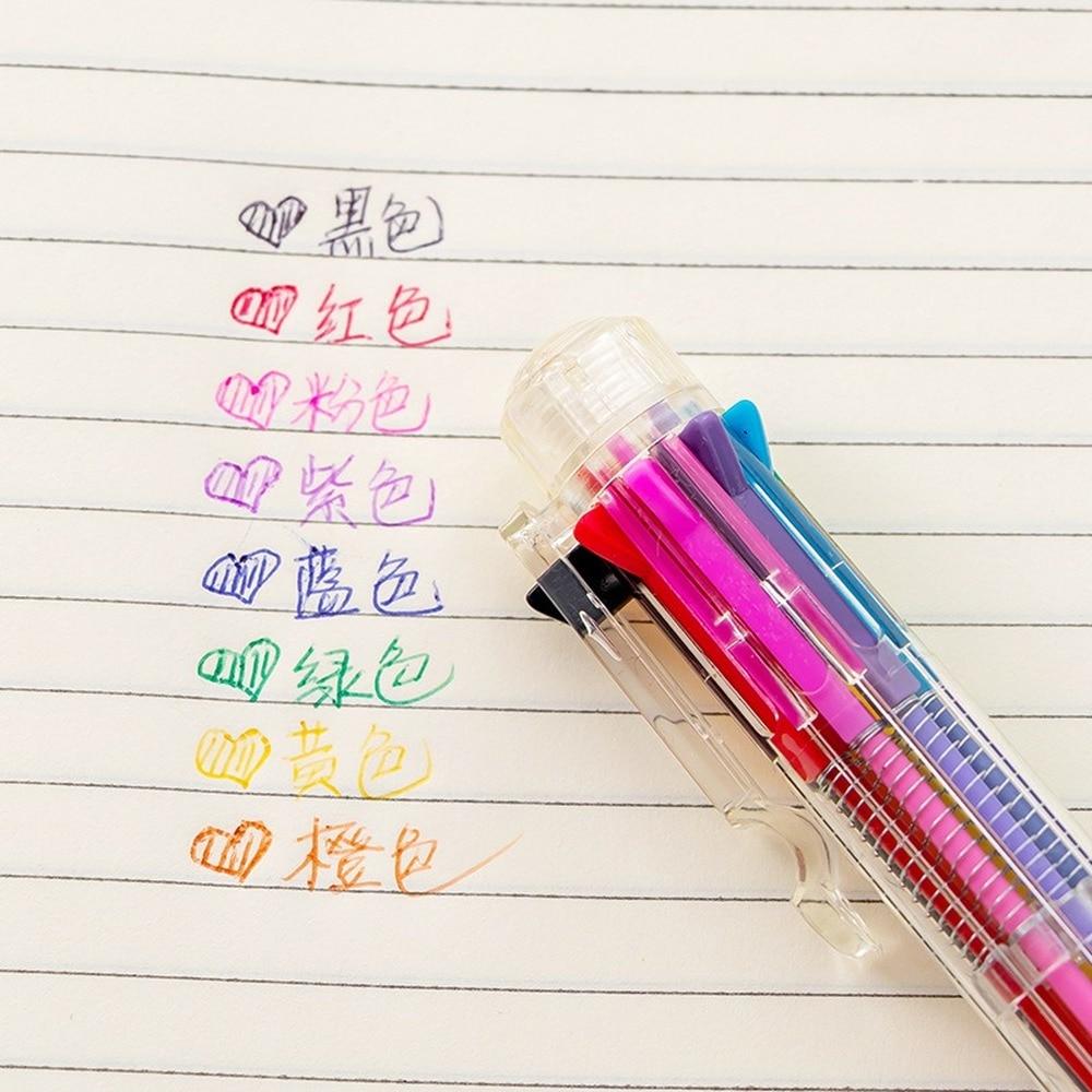 1pc Wholesale Ball Point Pen School Gifts Candy 8 Color Transparent Rod Tu Ya Bi Students Ballpoint Pen Stationery Wholesale
