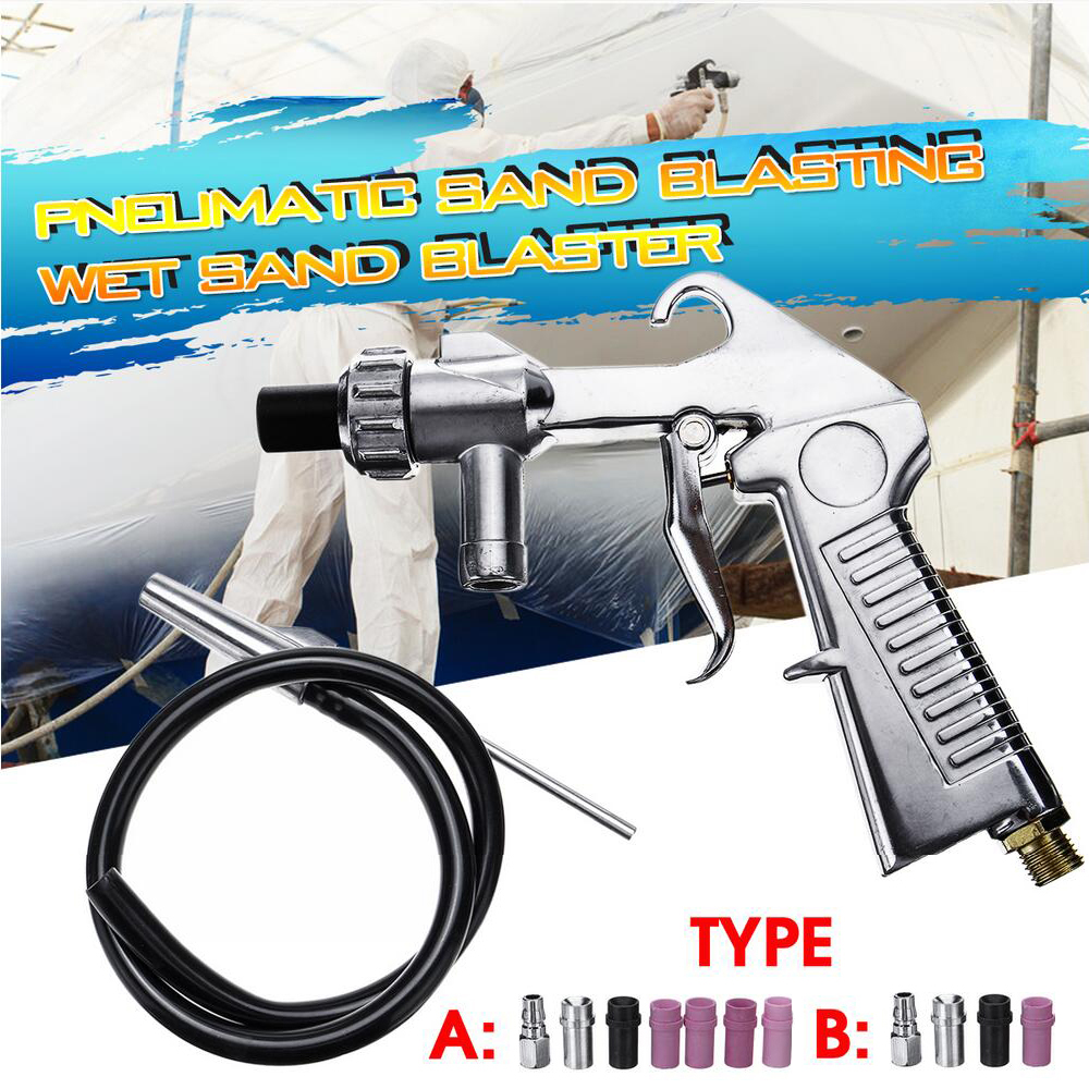 7Pcs Abrasive Air Sand Blasting Gun Kit 1 Ceramic Nozzle 1 Steel Nozzle 1 Sand Suction Pipe Industrial Sandblaster Gun