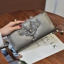 2021 New Fashion Wallet Women Deer head wallet Long zipper Wallet   coin purse Card Holder Carteira Feminina Purse Cartera Mujer