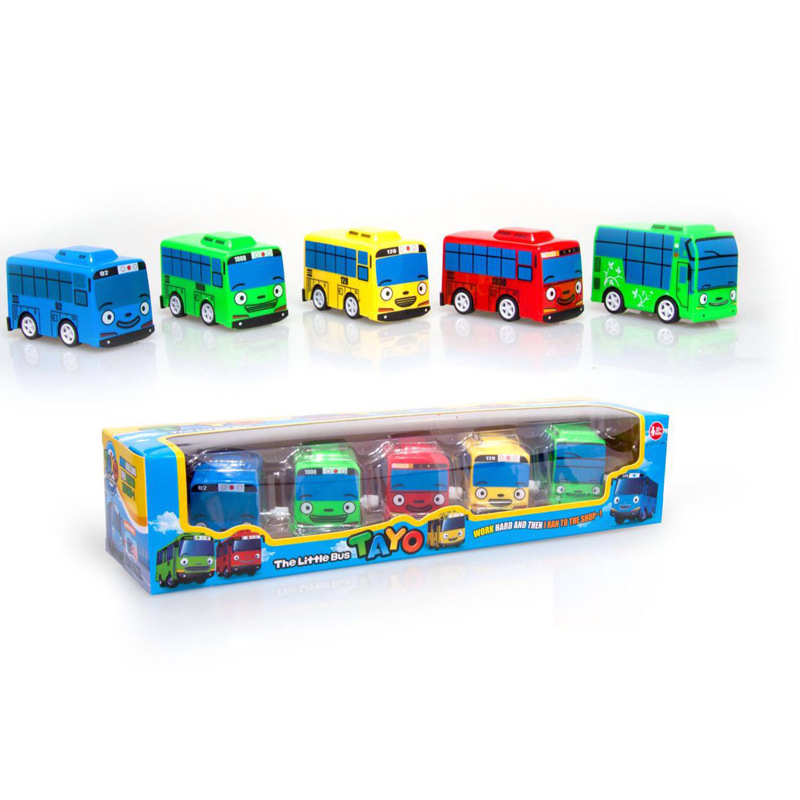 5 Mini Set Cut Shangluo Tailu Small Bus Toy Korean Cartoon TAYO The Little Bus Fashion Colorful Kids Birthday Gift