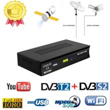 Hot selling Europe Russia Digital Terrestrial Satellite fully HD TV DVB T2S2 Combo Decoder Receiver Support Youtube usb WIFI PVR