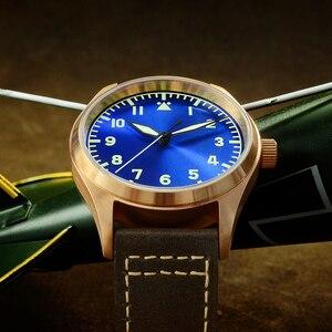 Image 3 - San MartinนาฬิกาBronze Mechanical Pilotนาฬิกาผู้ชายส่องสว่างสายหนังกันน้ำ