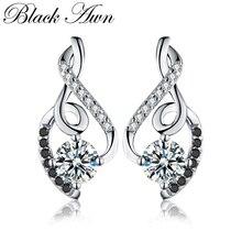 [Черный AWN] женские серьги из натуральной 925 пробы, серебряные ювелирные изделия, винтажные свадебные серьги-гвоздики для женщин T006