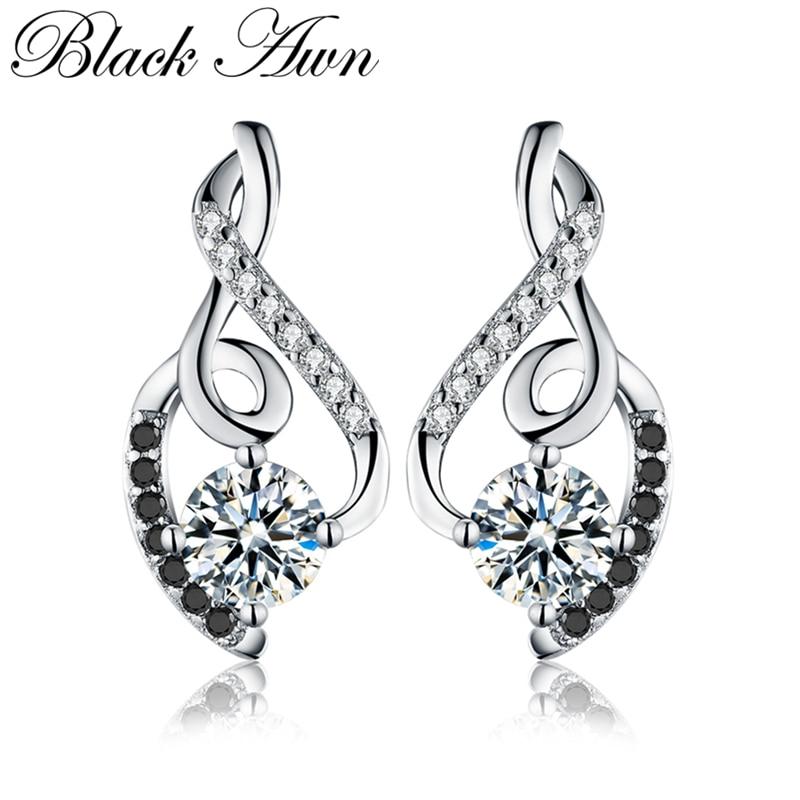[BLACK AWN] Genuine 925 Sterling Silver Female Earring Fine Jewelry Vintage Wedding Stud Earrings For Women T006