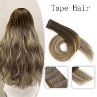 "Neitsi Ombre Balayage Tape In Human Hair Extensions Machine Remy Seamless Adhesive Straight Natural Hair Skin Weft 12"" 16"" 20"""