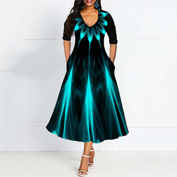 Half Sleeve V Neck Vintage A Line Printing Women Maxi Dress Standard-Waist Dress 2019 Autumn Dress Evening Party Beach Dress 2