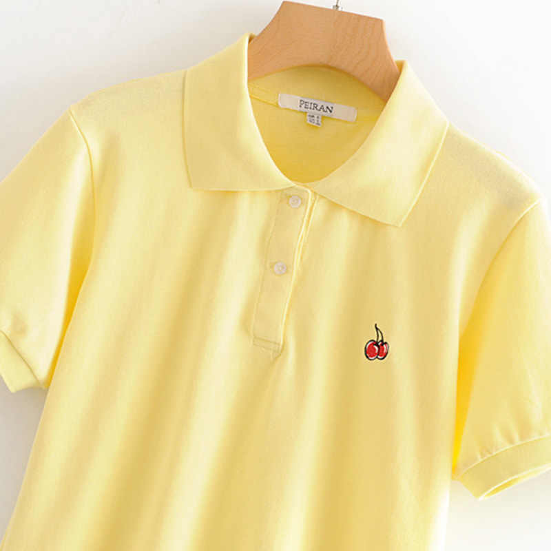 夏ファッションチェリー刺繍ポロシャツ女性新カジュアル半袖スリムポロ Mujer トップスプラス女性ポロシャツ