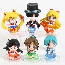 Candy Series Tsukino Usagi Tuxedo Mask Sailor Venus Mercury Mars Jupiter PVC Figures Toys 6pcs/set