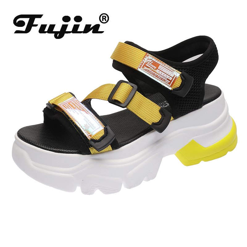 Fujin Brand Sandals Women Fashion Ladies Casual Shoes Thick Bottom Breathable 2020 Hook Loop Platform Shoes Summer Women Sandals
