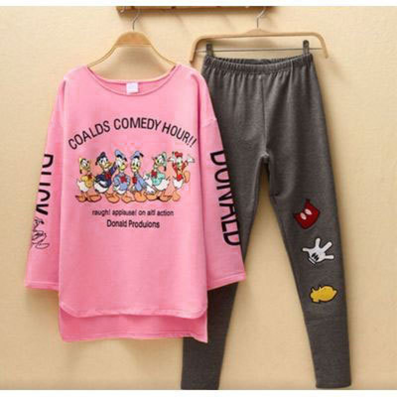 2019 New Women Pajamas Sets Autumn Long Sleeve Cartoon Print Cute Sleepwear Girl Pijamas Mujer Leisure Nightgown Adult Clothes