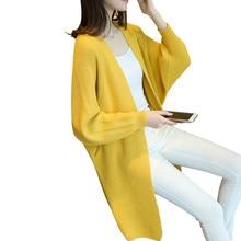 Long Cardigan Female Casual Loose Batwing Sleeve Jumper Women Knitted Sweater Chompas Mujer Elegant Knit Coat