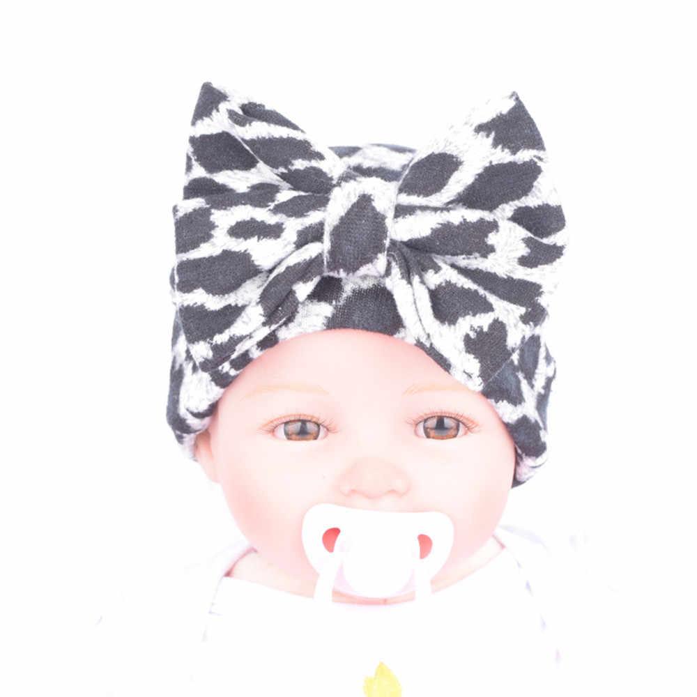 Sombrero de Hospital recién nacido sombreros recién nacidos con flor de leopardo accesorios cómodo algodón gorras de Hospital Bowknot sombrero de flores