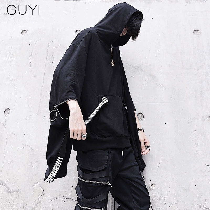 Letter Ribbons Hip Hop Men Hooded Hoodies Sweatshirts With Black Gown Mantle Fashion Jacket Cloak Men's Coats Casual Outerwear