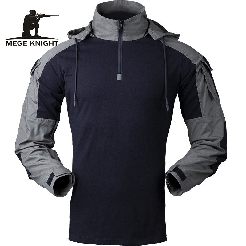 MEGE Tactical Combat Men Shirt Long Sleeve Military Clothing Soldiers Army Hooded Solid Shirt Outwear Ripstop Dropshipping