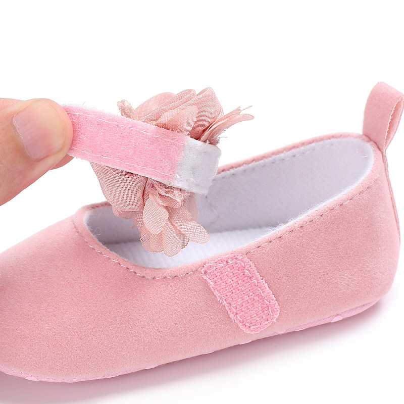 New Rose Flower Pink Princess Newborn Baby Girl Shoes First Walkers Soft Cotton Anti Slip Toddler Shoes Solid Color Infant Shoes 5